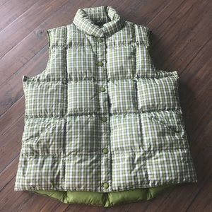 Women's Lands' End size M green plaid down vest
